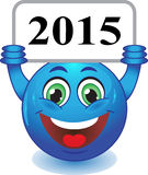 New Year, Christmas. Smile. Stock Image - smiley holding a plate with the inscription 2015 Royalty Free Stock Photography