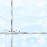 New Year and Christmas snow background. With silver ribbon Stock Photo