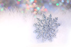 New year or christmas snowflake background Stock Image