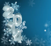 New Year or Christmas 2014 Snowflakes Background. A New Year 2014 Background with 3d ornaments with the year on them and a ribbon reading Happy New Year, framing vector illustration
