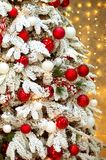 New Year. Christmas spruce, snowy branches, red balls. royalty free stock image