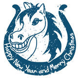 New Year and Christmas stamp with horse Stock Photography