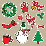 New Year and Christmas sticker icons Stock Images