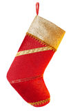 New Year 2015, Christmas stocking, red, golden fabric. New Year 2015, Christmas stocking,handmade red, golden fabric, decorated with festive ribbons on white Stock Photography