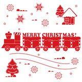 New year and Christmas symbols: train, wagons, gingerbread, сhr. Istmas tree, snowflakes, house. Design for banner, poster or print Vector Illustration