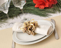 New Year or Christmas table close-up Royalty Free Stock Photos