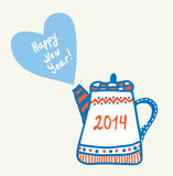 New year and christmas teapot funny Royalty Free Stock Photo