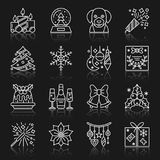 New Year christmas thin line vector icon set. New Year white thin line reflection shadow icon set. Vector christmas flat style linear symbol pack. Outline sign Stock Image