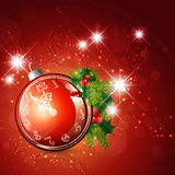 New Year and Christmas Time. Ball With Clock and Fir Decoration Royalty Free Stock Images
