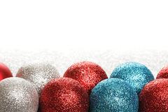 New year or Christmas toys. On silver glitter background Stock Photography