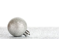 New year or Christmas toys. On silver glitter background Royalty Free Stock Photos