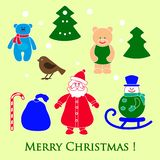 New year and Christmas toys and symbols. Design element for postcard, poster or print royalty free illustration