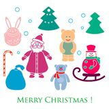 New year and Christmas toys and symbols. Design element for postcard, poster or print stock illustration
