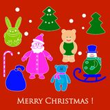 New year and Christmas toys and symbols. Design element for postcard, poster or print vector illustration