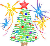 New year and christmas tree Stock Images
