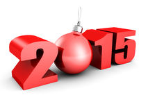 New year 2015 with christmas tree bal. L. 3d render illustration Royalty Free Stock Photos