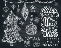 New year2017.Christmas tree,bals. Lettering,decor.Chalkboard Royalty Free Stock Photos