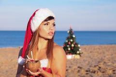 New year Christmas tree Beach Resort Sea girl Stock Image