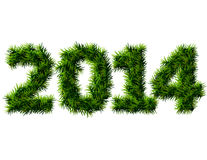 New Year 2014 of christmas tree branches isolated  Royalty Free Stock Image
