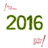 New Year 2016 of christmas tree branches isolated. On white  in shape of number 2016. Vector design element for new year's day, christmas, winter holiday, new Stock Photography