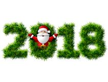 New Year 2018 of christmas tree branches isolated on white Stock Photography