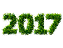 New Year 2017 of christmas tree branches  on white. Empty pine twigs in shape of number 2017. Vector design element for new years day, christmas, winter holiday Royalty Free Stock Photography