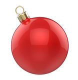 New year Christmas-tree Christmas toy red ball. 3D render isolated on white background Royalty Free Stock Photography