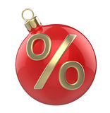 New year Christmas-tree Christmas toy red ball with percent symbol. Designate the sale or discount. 3D render  on white background Stock Photography