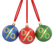 New year Christmas-tree Christmas toys red, green and blue balls with percent symbol, hanging ribbon Royalty Free Stock Photos