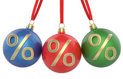 New year Christmas-tree Christmas toys red, green and blue balls with percent symbol, hanging ribbon. Royalty Free Stock Photo