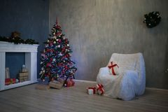 New year Christmas tree decor gifts stock image