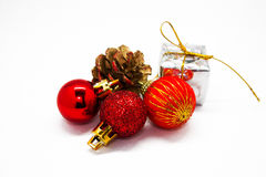 New year. The Christmas tree decorations, the cone, isolated Royalty Free Stock Photos