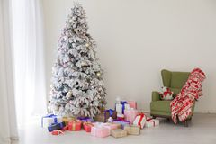 New year with Christmas tree and Gifts Christmas Decor winter royalty free stock photo