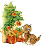 New Year Christmas tree and kitten watercolor background Stock Photo