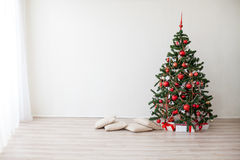 New year Christmas tree presents. White room Stock Photos