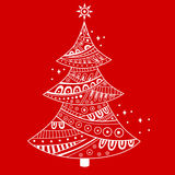 New year Christmas tree red abstract illustration Royalty Free Stock Photography