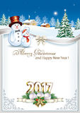New Year 2017 with Christmas tree and snowman Royalty Free Stock Photo