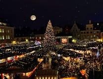 Free New Year  Christmas Tree  Tallinn Romantic Night Starry Sky ,full Moon Light  City Market Place In Tallinn Town Hall Square Illumi Stock Photo - 167518510