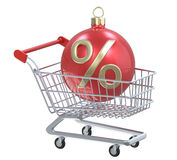 New year Christmas-tree toy red ball with percent % symbol in shopping cart. Designate the sale or discount Stock Photos