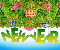 New year, Christmas tree toys on a blue background. Royalty Free Stock Image