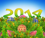 New year, Christmas tree toys on a blue background. Stock Photos
