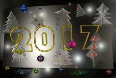 New year 2017, christmas tree. Transparent glass shapes christmas tree shapes are different on a bright, colorful,  dark black background, glare, glow Stock Image