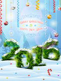 New Year 2016 of christmas tree twigs in snow. Winter landscape pine branches, decoration, congratulation. Qualitative vector illustration for new year's day Royalty Free Stock Photos