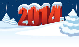 New Year 2014. And Christmas trees on winter white background vector illustration