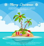 New Year Christmas Vacation Holiday Tropical Ocean. Island With Palm Tree Flat Vector Illustration Royalty Free Stock Images