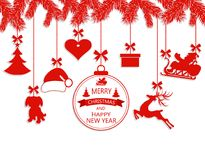 New Year Christmas. Various ornaments hanging on spruce branches, a Santa hat, a reindeer, a heart, a gift, a dog and a. Christmas tree. Vector illustration Stock Image