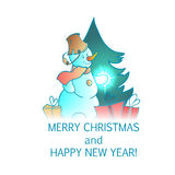 New year and christmas vector card. Christmas and new year snowmen vector card Royalty Free Stock Images