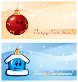 New Year Christmas vector greeting card Royalty Free Stock Photo