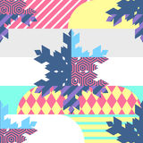 New Year, Christmas vector seamless pattern. Multicolor snowflak Stock Photography