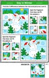 Winter holidays picture puzzles with cheerful snowman Stock Photography
